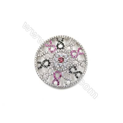 Brass Micro Pave Cubic Zirconia Charms  Round  White Gold  Diameter 37mm  x1pc