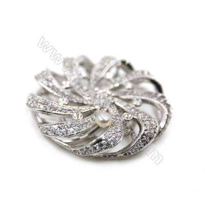 Brass Micro Pave Cubic Zirconia Charms  Hollow Round  White Gold  Diameter 34mm  x1pc