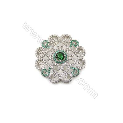 Brass Micro Pave Cubic Zirconia Charms  Flower  White Gold  Size 37x36mm  x1pc
