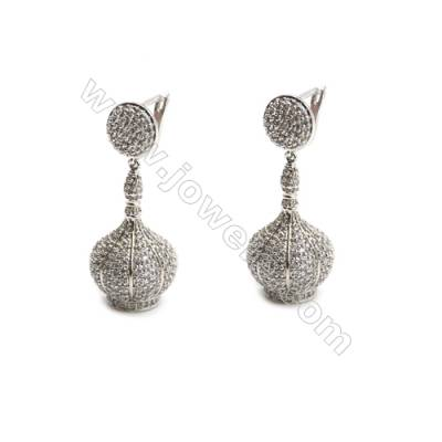 Brass Pave Cubic Zirconia Hollow Lantern Dangle Earrings, White Gold, Size 17x31mm, Pin 0.9, 6pcs/pack