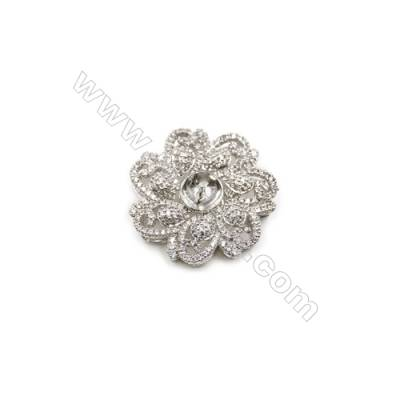 Brass Micro Pave Cubic Zirconia Charms  Flower  White Gold  Tray 8mm  Pin 1mm  Size 30mm  x1pc can inlay Half-drilled beads