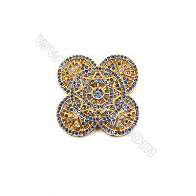 Brass Micro Pave Cubic Zirconia Charms  Flower  Golden  Hole 2mm  Size 32x33mm  x1pc