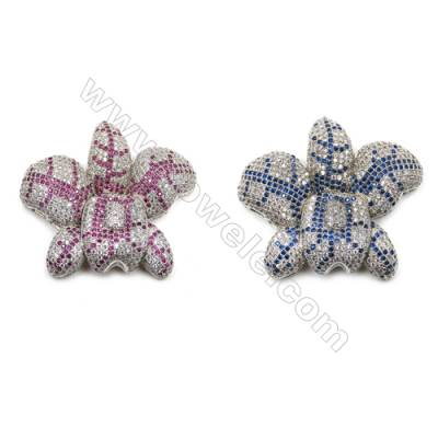 Brass Micro Pave Cubic Zirconia Charms  Flower  White Gold  Size 45x50mm  x1pc