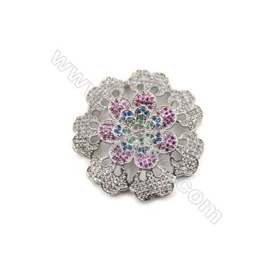 Brass Micro Pave Cubic Zirconia Charms  Flower  White Gold  Tray 4mm  Pin 0.8mm  Size 42mm  x1pc can inlay Half-drilled beads