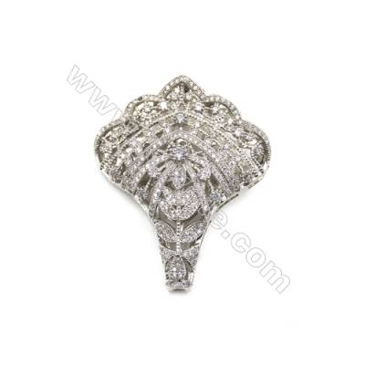 Brass Micro Pave Cubic Zirconia Charms  Hollow Flower  White Gold  Hole 4mm  Size 40x47mm  x1pc