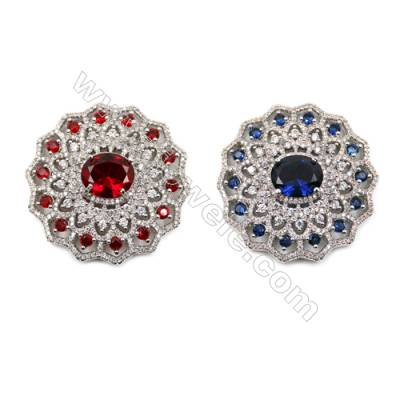 Brass Micro Pave Cubic Zirconia Charms  Hollow Flower  White Gold  Size 38mm  x1pc