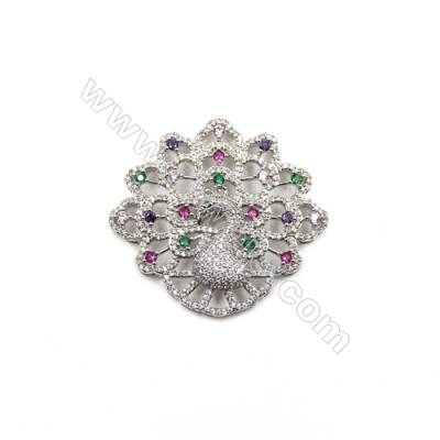 Brass Micro Pave Cubic Zirconia Charms  Peacock  White Gold  Size 44x48mm  x1pc