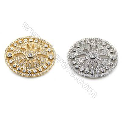Brass Micro Pave Cubic Zirconia Charms  Oval  (Gold  White Gold) Plated  Size 35x28mm  x1pc