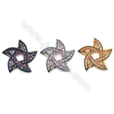 Brass Micro Pave Cubic Zirconia Charms  Star  (Gold  White Gold  Gun Black) Plated  Size 37mm  x1pc