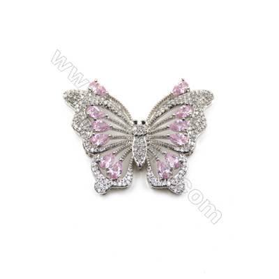 Brass Micro Pave Cubic Zirconia Charms  Butterfly  White Gold  Size 30x40mm  x1pc