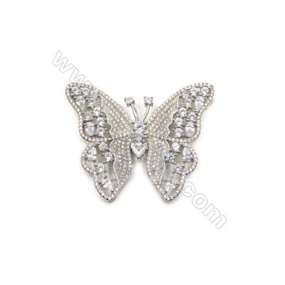 Brass Micro Pave Cubic Zirconia Charms  Butterfly  White Gold  Size 39x48mm  x1pc