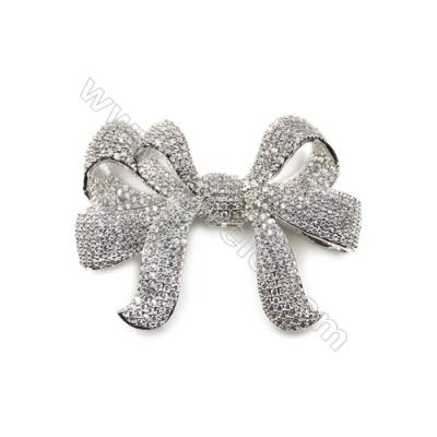 Brass Micro Pave Cubic Zirconia Charms  Bowknot  White Gold  Size 52x40mm  x1pc
