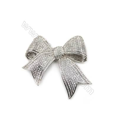 Brass Micro Pave Cubic Zirconia Charms  Bowknot  White Gold  Size 55x49mm  x1pc