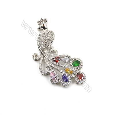 Brass Micro Pave Cubic Zirconia Charms  Peacock  White Gold  Size 57x27mm  x1pc