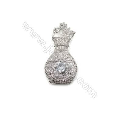 Brass Micro Pave Cubic Zirconia Charms  Vase  White Gold  Size 50x26mm  x1pc