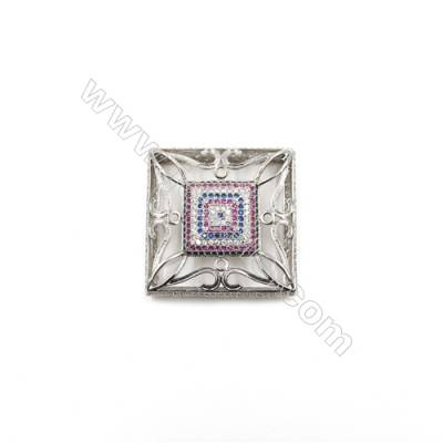 Brass Micro Pave Cubic Zirconia Charms  Square  White Gold  Size 35x35mm  x1pc
