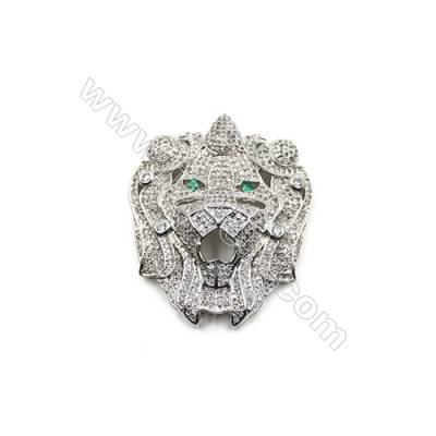 Brass Micro Pave Cubic Zirconia Charms  Lion  White Gold  Size 44x37mm  x1pc
