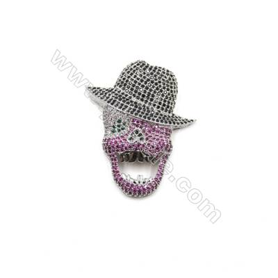 Brass Micro Pave Cubic Zirconia Charms  Skull  White Gold  Size 44x38mm  x1pc