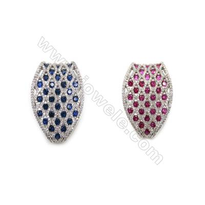 Brass Micro Pave Cubic Zirconia Charms  White Gold  Size 40x25mm  x1pc