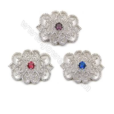 Brass Micro Pave Cubic Zirconia Charms  White Gold  Size 37x29mm  x1pc