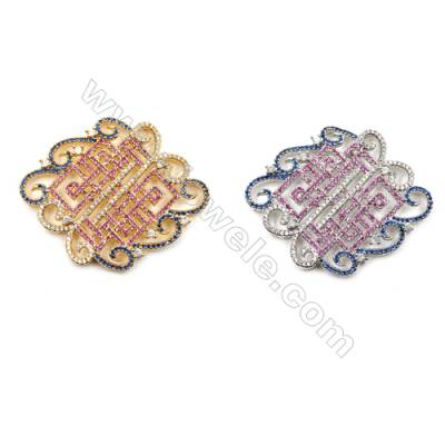 Brass Micro Pave Cubic Zirconia Charms  (Golden  White Gold) Plated  Size 49x39mm  x1pc