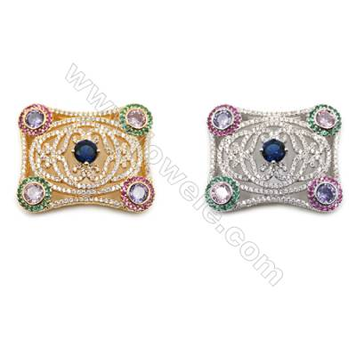 Brass Micro Pave Cubic Zirconia Charms  (Golden  White Gold) Plated  Size 30x37mm  x1pc