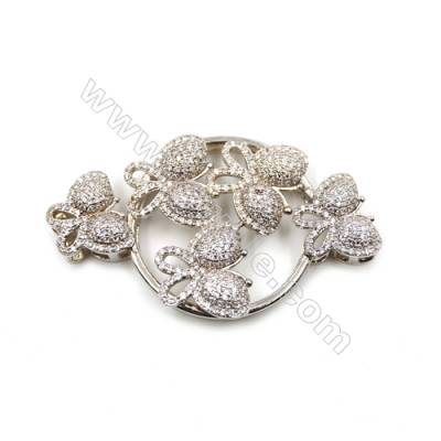 Brass Micro Pave Cubic Zirconia Charms  Butterfly  White Gold  Size 59x33mm  x1pc