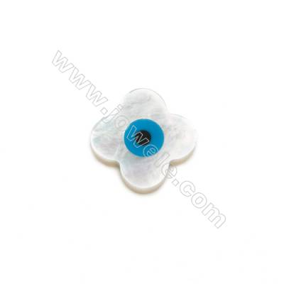 Flower-shaped evil eye (nazar) white mother-of-pearl shell, 12 mm, hole 0.8mm, 30 pcs/pack