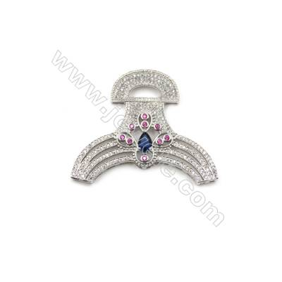 Brass Micro Pave Cubic Zirconia Charms  White Gold  Size 47x52mm  x1pc