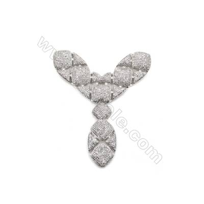 Brass Micro Pave Cubic Zirconia Charms  Letter Y  White Gold  Size 77x67mm  x1pc