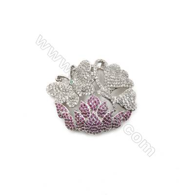 Brass Micro Pave Cubic Zirconia Charms  Butterfly  White Gold  Size 32x38mm  x1pc