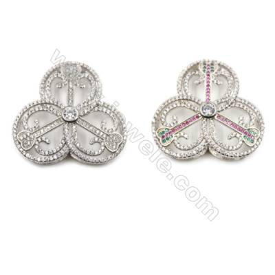 Brass Micro Pave Cubic Zirconia Charms  White Gold  Size 36x39mm  x1pc
