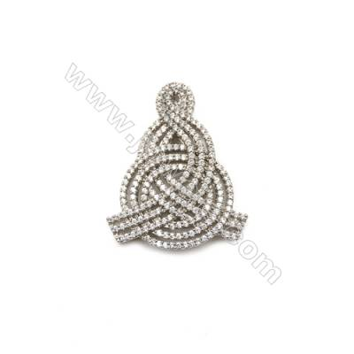 Brass Micro Pave Cubic Zirconia Charms  White Gold  Size 43x35mm  x1pc
