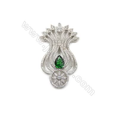 Brass Micro Pave Cubic Zirconia Charms  White Gold  Size 49x30mm  x1pc
