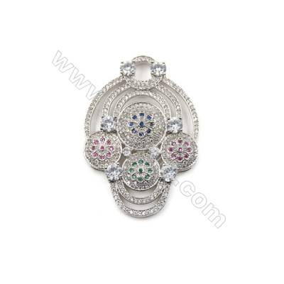 Brass Micro Pave Cubic Zirconia Charms  White Gold  Size 51x36mm  x1pc