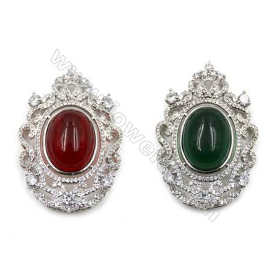 Brass Inlay Dyed Glass Bead Charms  White Gold  Micro Pave Cubic Zirconia  Size 48x33mm  x1pc
