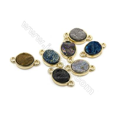Oval Electroplating Natural Druzy Agate Connectors, Dyed, white gold plated, Size 12x14mm, Hole 1.5mm, Thick 4~8mm, 8pcs/pack