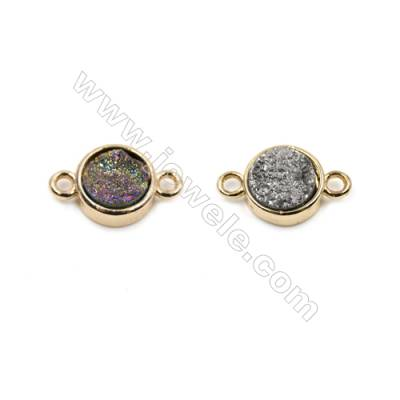 Round Electroplating Natural Druzy Agate Connectors, Dyed, rose gold plated, Diameter 10mm, Hole 1.5mm, Thick 4~6mm, 8pcs/pack