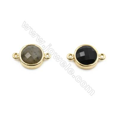 Natural Gemstone Connectors, Plated Gold, Round(Faceted), Diameter 12mm, Hole 1.5mm, 8pcs/pack(Labradorite, Black Agate)