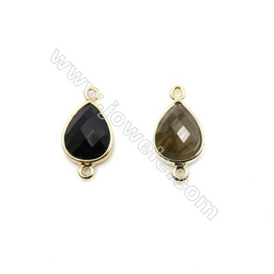 Natural Gemstone Connectors, plated gold, Teardrop(Faceted), Size 12x15mm, Hole 1.5mm, 8pcs/pack(Labradorite, Black Agate)