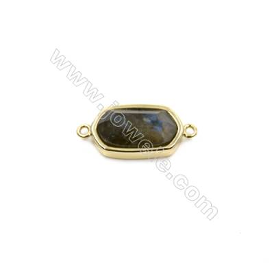 Natural Labradorite with Brass Plated Gold Connectors, Oval(Faceted), Size 10x18mm, Hole 1mm, Thick 6mm, 8pcs/pack