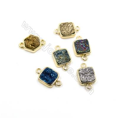 Dyed Square Electroplating Brass Natural Druzy Agate Connectors, plated gold, Size 12x12mm, Hole 2mm, Thick 4~6mm, 8pcs/pack