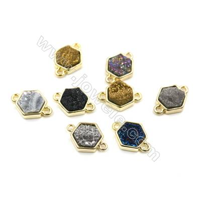 Dyed Polygon Electroplating Brass Natural Druzy Agate Connectors, plated gold, Size 12x13mm, Hole 1.5mm, Thick 4~6mm, 8pcs/pack