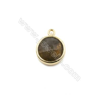 Natural Labradorite with Brass Plated Gold Pendants, Round(Faceted), Diameter 12mm, Hole 1.5mm, Thick 6mm, 8pcs/pack