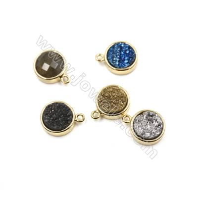 Dyed Round Electroplating Natural Druzy Agate Pendants, plated gold, Diameter 12mm, Hole 1.5mm, Thick 5mm, 8pcs/pack