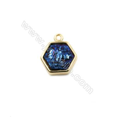 Polygon Electroplating Blue Natural Druzy Agate Pendants, plated gold, Size 12x13mm, Hole 1.5mm, Thick 5~6mm, 8pcs/pack