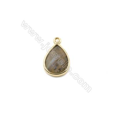 Natural Labradorite with Brass Plated Gold Pendants, Teardrop(Faceted), Size 11x14mm, Hole 1.5mm, Thick 6mm, 8pcs/pack
