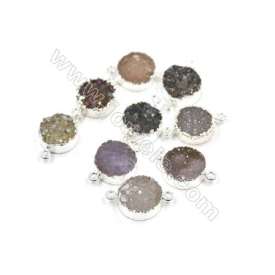 Dyed Round Electroplating Natural Druzy Agate Connectors, plated silver, Diameter 15mm, Hole 2mm, Thick 8mm, 5pcs/pack