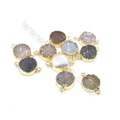 Dyed Round Electroplating Natural Druzy Agate Connectors, plated gold, Diameter 15mm, Hole 1.5mm, Thick 6~7mm, 5pcs/pack