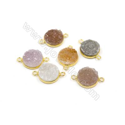 Dyed Round Electroplating Brass Natural Druzy Agate Connectors, plated gold, Diameter 16mm, Hole 2mm, Thick 6~7mm, 5pcs/pack